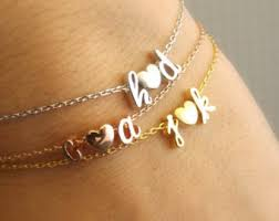 initials bracelet initial bracelet etsy