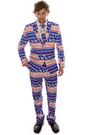 christmas suit nordic blue christmas stag suit clothing