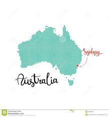 sydney australia map australia map dotted sydney capital of australia stock