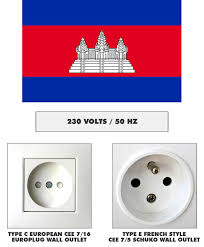 electrical plug outlet and voltage information for cambodia
