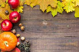 thanksgiving autumn fall background with pumpkin leaves apples