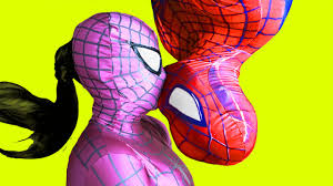 spider man spiderman vs pink spidergirl in real life pie face superhero