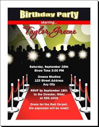 red carpet paparazzi birthday party ticket invitation