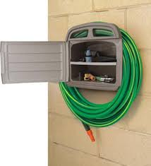 Garden Hose Hanger With Faucet Yardworks Resin 150 Ft Hose Hanger With Storage At Menards