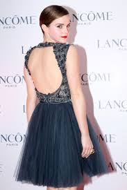 emma watson vintage queen anne neck short navy cocktail dress