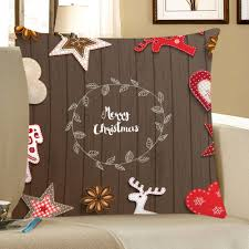 christmas decorations print throw pillow case coffee brown w