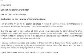 general assistant cover letter