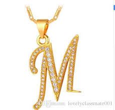 initial necklaces for wholesale capital initial m letter necklace for men women gift