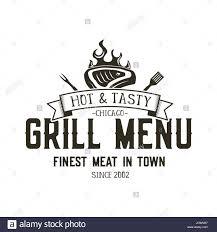 grill menu emblem template steak house restaurant logo design