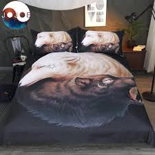 wolf bed set yin and yang wolves black duvet cover with pillowcases round print