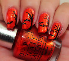 spooky trees and flying bats halloween nail art set in lacquer