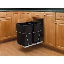 Under Cabinet Pull Out Trash Can Cabinets U0026 Storages Black Pull Out Double Plastic Trash Bin Light