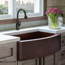 33 inch farmhouse kitchen sink fsw1101 luxury 33 inch pure hammered copper farmhouse kitchen sink