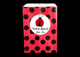 personalized party favor bags ladybug party favor paper bags and personalized stickers