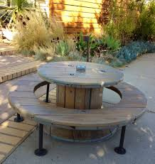 outdoor tables made out of wooden wire spools how to decorate the yard with a picnic table wire spool picnic