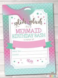 printable mermaid birthday party invitation instant download
