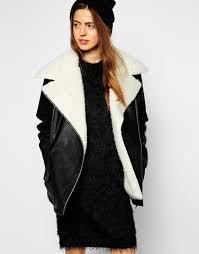 biker coat asos biker jacket with oversized faux fur collar in black lyst