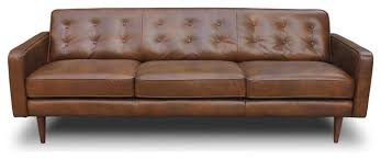 Modern Genuine Leather Sofa Perfect Leather Mid Century Sofa Shop Houzz Tb3 Home Broxton Mid