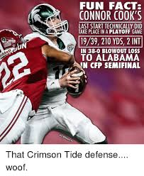 Funny Alabama Football Memes - riddel fun facts connor cook s last start technically did take