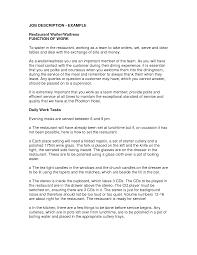 Server Job Description Resume by Example Of Job Description For Resume Resume For Your Job