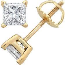 gold back earrings 2 carat 18k yellow gold solitaire diamond stud earrings princess