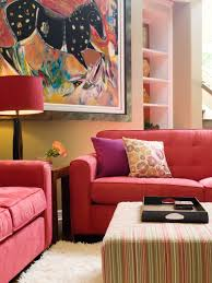 how to decorate living room walls vibrant red sofas hgtv