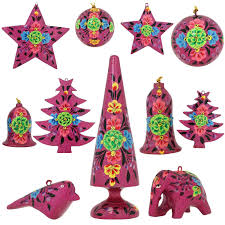 purplr paper mache ornaments christmas decor set of 11 items http