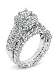 Zales Wedding Rings by Zales 1 1 4 Ct T W Princess Cut Diamond Frame Bridal Set In 14k