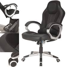 Gaming Desk Chair Raygar Deluxe Padded Sports Racing Gaming Office Chair Black