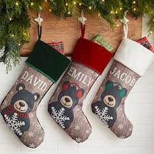 personalized christmas stockings holiday bear family