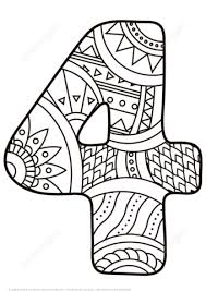 number 4 coloring sheets clipart black and white clipground