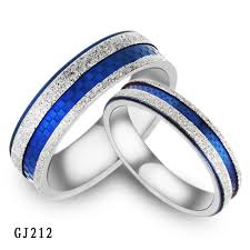 blue wedding rings jewelry 316l stainless steel rings silver dull blue grid