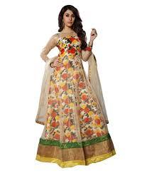 fashion bucket multicoloured bhagalpuri silk anarkali gown semi