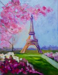 11 x 14 modern impressionist original oil painting of the eiffel