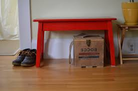 interior red entryway bench for satisfying small entry bench