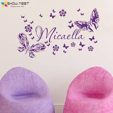 aliexpress com buy personalized custom kid s name butterflies aliexpress com buy personalized custom kid s name butterflies flower wall stickers decals vinyl design baby bedroom wall mural size 44 x 92 cm from