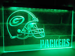green bay packers led sign football man cave decor
