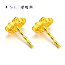 gold earrings for marriage usd 157 32 tsl tse sui luen authentic married gold stud earrings
