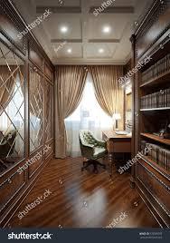 home office interior design classic style stock illustration home office interior design in classic style 3d rendering