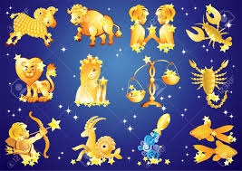 12 zodiac signs on blue background with stars royalty free