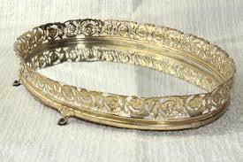 Gold Vanity Mirror Vintage Vanity Mirror Perfume Tray Gold Lace Metal Filigree Frame