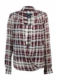 alfani blouses alfani s plaid print chiffon surplice blouse rennde