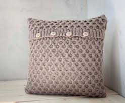 Knitting Home Decor Hand Knitted Cushion Beige Waffle Pattern Pillow Cover With