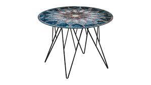 Wohnzimmertisch Uhr Prunus Wohnzimmertisch Tisch Glas Mosaik Print Schwarz 55