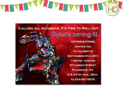 transformers birthday party invitations template free printable