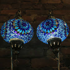 mosaic table lamps in blues swan neck pair mosaic lamps nyc
