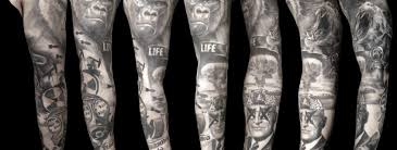 alo loco black and grey sleeve tattoos portraits