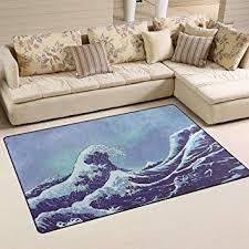 Rona Area Rugs Welllee Water Waves Area Rug Japanese Sea Waves Blue