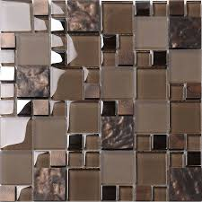 Brown Glass Mosaic Kitchen Backsplash Tile Contemporary Mosaic - Mosaic kitchen tiles for backsplash