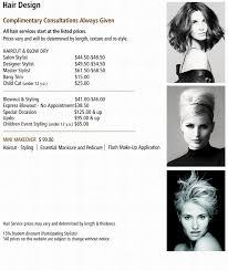 haircut express prices price menu hair design christie salon co